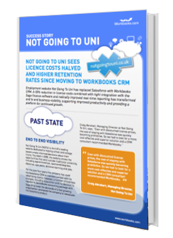 NGTUThumbg Not Going To Uni swaps its Salesforce CRM for Workbooks' online CRM