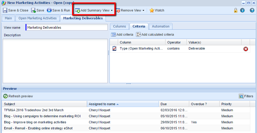 Summary View Keeping track of a busy marketing team using CRM – a CMO's Guide