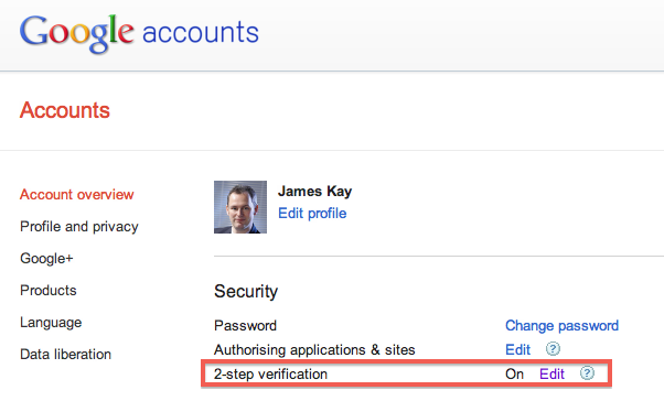 Choose two step verification in the Google Profile