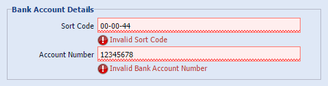 bank account validation