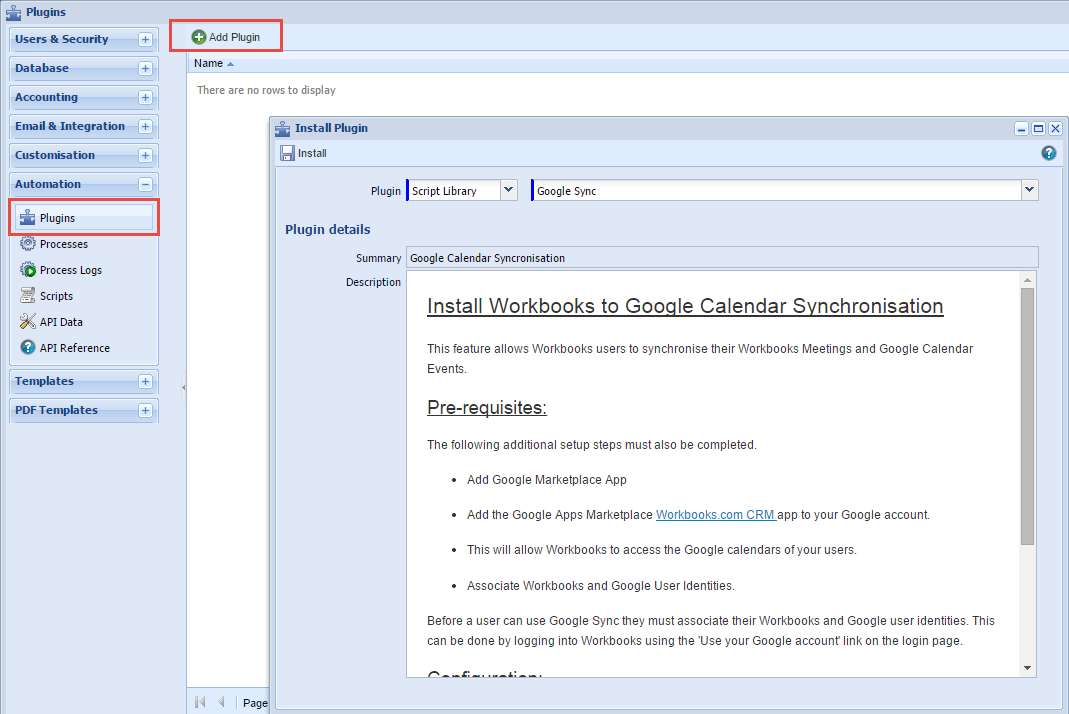 Install Workbooks to Google Calendar Synchornisation