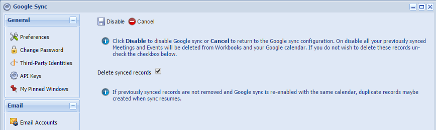 Google Sync message
