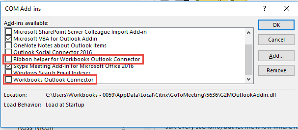 how to change load behavior in outlook add-in 2016