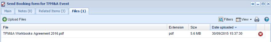 Booking form screenshot